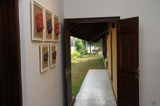 View of garden from side entrance in hall.