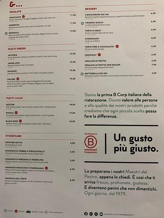 Panino Giusto Aereoporto Linate - Il MENU - Insalate, piatti freddi, snack e dessert