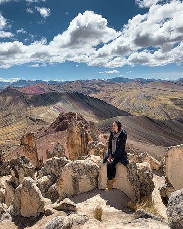 Rainbow Mountain Palccoyo!🌈⛰️ Here are 3 reasons why you have to visit this amazing place!🙌🏼 1. LESS CROWDED! Compared to Vinicunca, there are only few travelers visiting Palccoyo.😍 2. 3 Rainbow Mountains! In the photo, you see number 2 & 3.🤩 3. EASY HIKE!🏔️ The whole trek takes only 45-60min & is mostly flat. #ExploorPeru