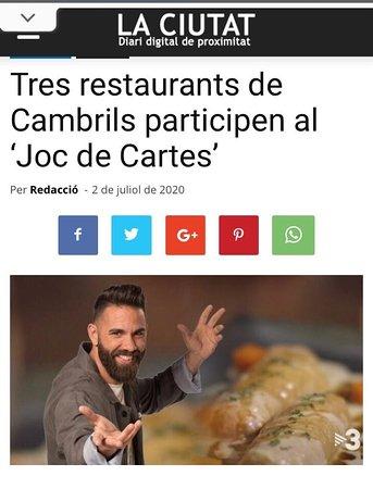 """Restaurante Botella, elegido para participar en el programa de TV """"Joc de Cartes """" como referente de restaurante familiar de Cambrils"""