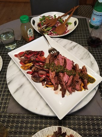 Live-streaming class on making authentic chimichurri: Chimichurri made during class