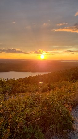 Sun set at the side of cadillac mountain.