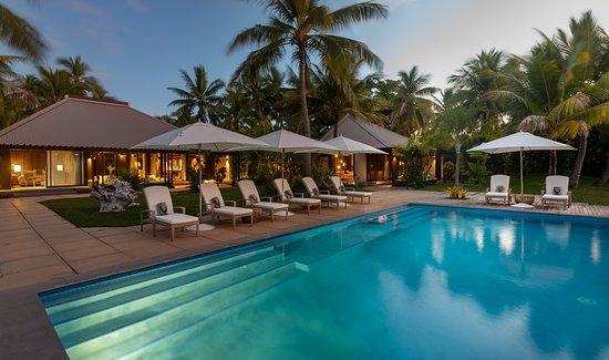 Vomo Island, Fiji: The Residence pool at twilight