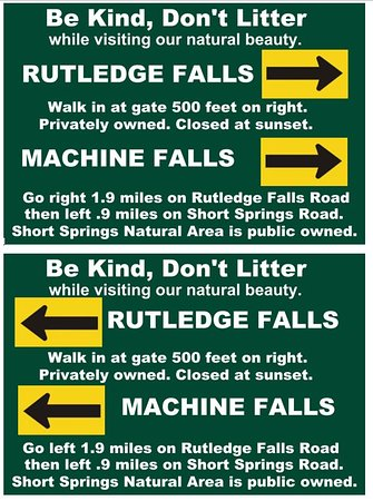 Look for these signs under the stop signs at intersection of Rutledge Falls ROAD and Rutledge Fall DRIVE near Rutledge Falls.