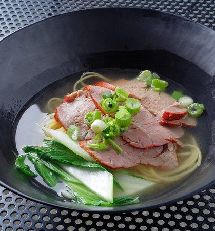 Egg noodles soup with BBQ Pork