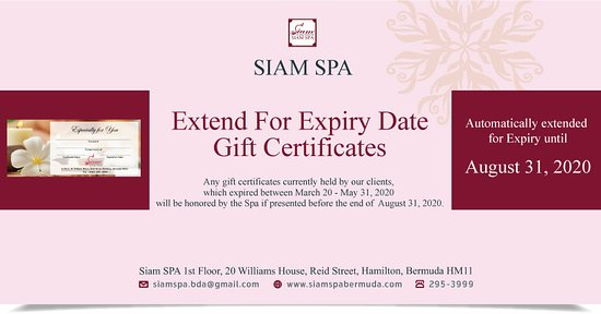 Extend For Expiry Date A Gift Certificates📢  Due to the temporary closure of Siam Thai Massage & Herbal Spa to prevent the spread of COVID-19, we take into consideration to extend the validity period of Gift Certificate which have the expired between March 20 - May 31, 2020 will be honored by the Spa if presented before the end of 📌August 31, 2020.