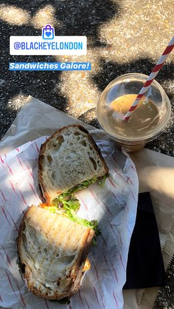 Grilled halloumi sandwich, iced flatwhite