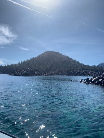 Wizard Island from the boat.