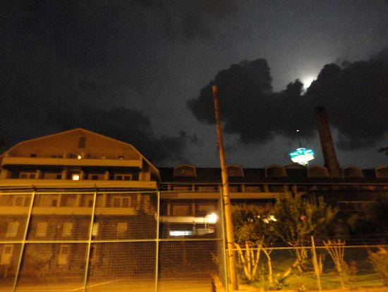 A spooky full moon over the Gatlinburg Inn on Appalachian GhostWalks' Haunted Historic Gatlinburg GhostWalk.