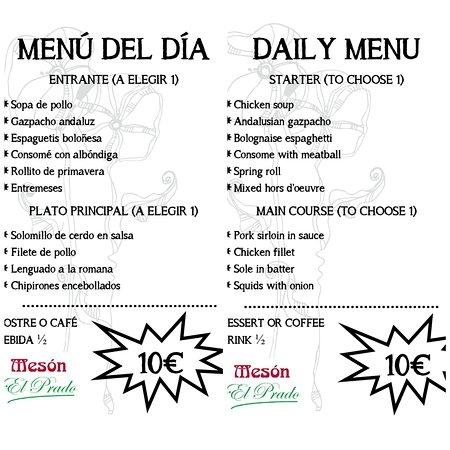 Nuestro menú del día de hoy lunes 6 de julio. - Our menu today Monday, July 6.