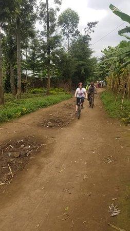 Riding through Musanze village