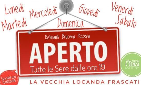 ⚠ LUGLIO E AGOSTO APERTI TUTTE LE SERE!!! ⚠ 🆕🆕🆕🆕🆕🆕🆕🆕🆕🆕🆕🆕🆕🆕 POSSIBILITÀ DI CENARE ALL' APERTO!!! Sala Baby  con Gonfiabile (aperta in base al decreto COVID19) Menù a partire da euro 11 🆕🆕🆕🆕🆕🆕🆕🆕🆕🆕🆕🆕🆕🆕 4 menù Pizza 🍕  6 menù Carne 🥩 1 menù Pasta 🍝 2 menù Family 👨👩👧👧 è gradita la prenotazione...📞 Info & Prenotazioni ☎️ 3938891264  👉🏻 Chiama 👈🏻  🍽Vecchia Locanda🍽 Frascati 🥂 Via Pietra Porzia, 32 👍🏻