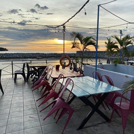 Stunning sunset, nice food