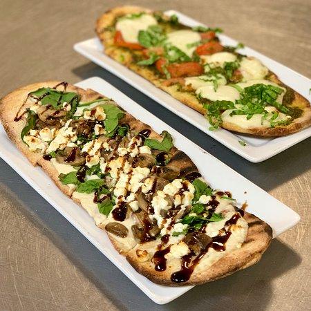 Walpole, MA: Spinach & Mushroom and Caprese Flatbreads