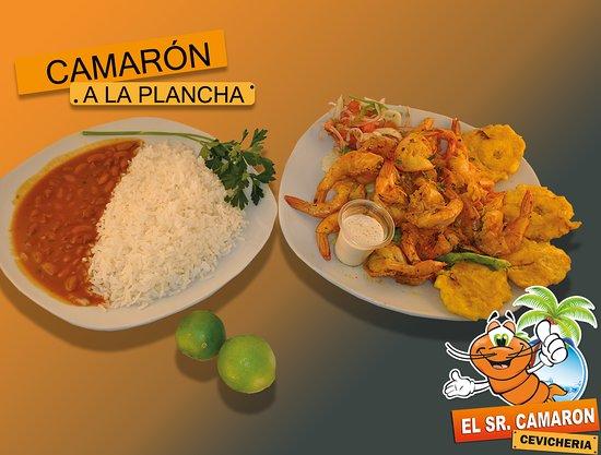 Atuntaqui, Ecuador: Deliciosos camarones a la plancha, preparados con una apetitosa salsa y mariscos frescos
