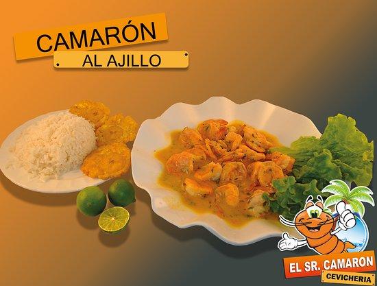 Atuntaqui, Ecuador: Camarones revueltos en una salsa deliciosa y el toque especial del ajo