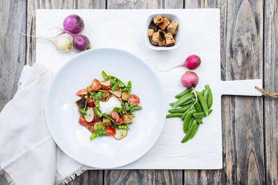 Burrata Panzanella Salad maplebrook farms burrata | croutons | radish  snap peas | cherry tomatoes | pickled shallots  basil vinaigrette