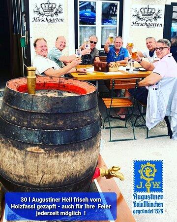 30 Liter Holzfass Augustiner Hell auch für Ihre Feier zu bestellen