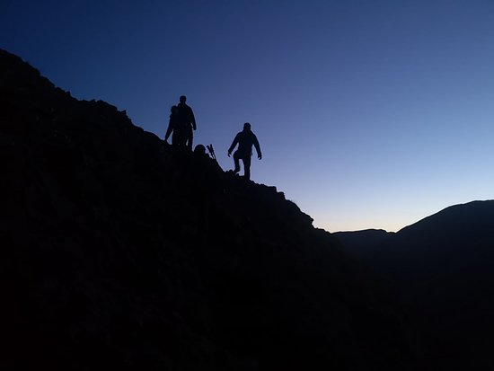 Exploring Scafell Pike as the Sun sets