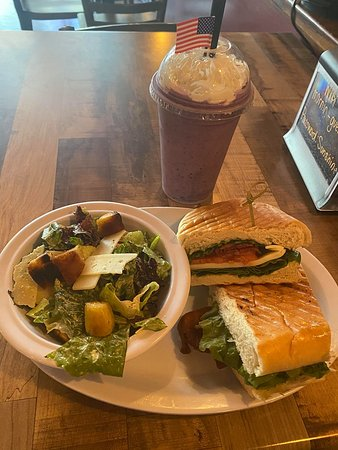 Berry Smoothie with Fiery Caesar Salad