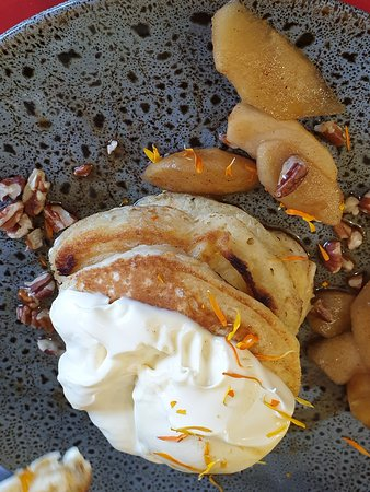 Pancakes with stewed apples, walnuts  & fresh cream. Awesome.