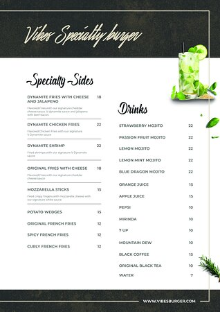 Vibes Burger Menu - Sides and drinks