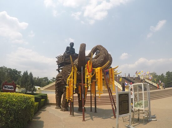 Buddhist temple with a large statue