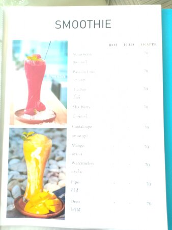Amnat Charoen City, Thái Lan: Smoothie menu & prices.