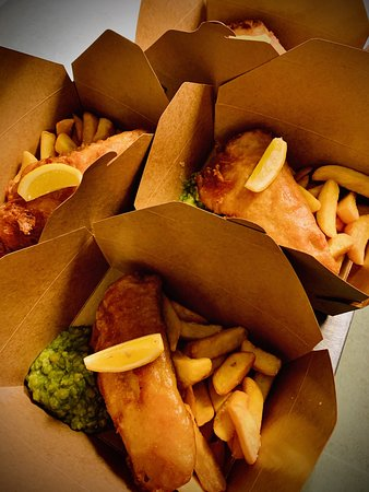 Takeaway fish and chips, crushed peas, home-made tartar