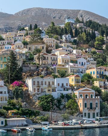 Symi,  View from Port of Galias to CHORIO Upper Town
