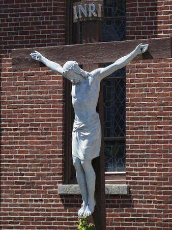 A depiction of the Crucifixion of Jesus Christ is on the east-facing exterior of the Cathedral of the Immaculate Conception in Portland, Maine.