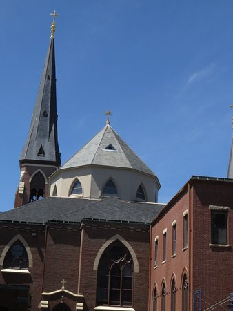 The Cathedral's tallest spire towers 204 feet above the streets of Portland, Maine.