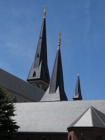 The spires of the Cathedral of the Immaculate Conception do much to define  the skyline of Portland, Maine.