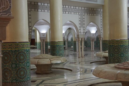 The architecture is sublime, exemplified here by this prayer ablution room in the Hassan II Mosque.