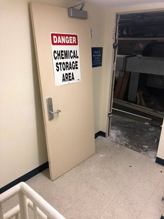 Hazardous storage closets unsecured.