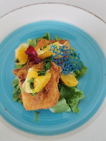 Deep fried Halloumi  with a orange & mint salsa