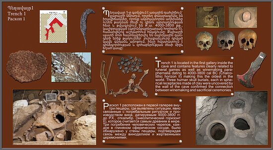 Areni, Armenia: Trench 1 is located in the first gallery inside the cave and contains features clearly related to funeral games as well as winemaking paraphernalia dating to 4000-3800 cal BC (Chalcolithic horizon II) making this the oldest in the world. Three human skull burials, each in spherical receptacles made of clay were uncovered by the wall of the cave confirmed the connection between winemaking and sacrificial ceremonies.