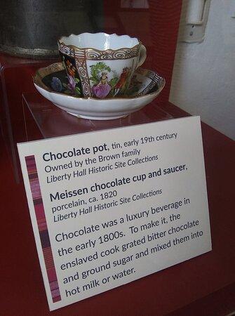 Original hot chocolate cup belonging to Margaretta Mason Brown.