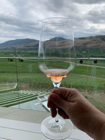 Enjoying a lovely rosé at Phantom Creek Winery.
