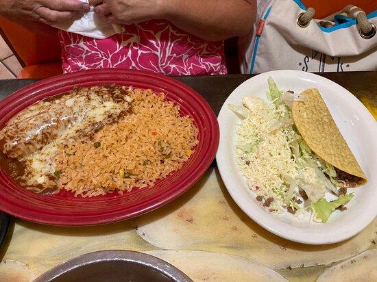 enchiladas and a taco