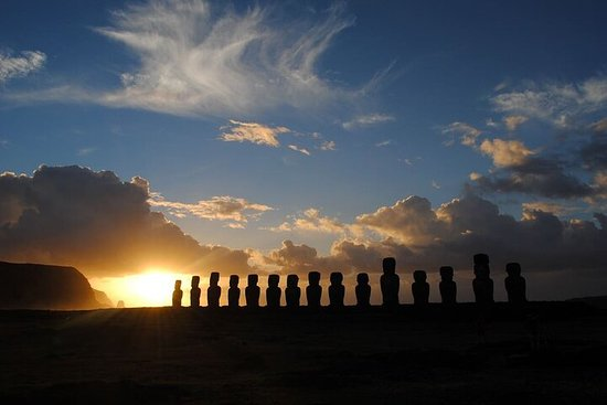 Sunrise in Tongariki on Easter Island...