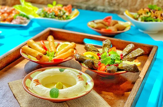 Appetizers: Hommous Tahina, Vine Leaves and Cheese Rolls