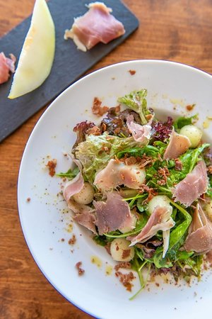 Melon salad with delicious prosciutto from Tinos