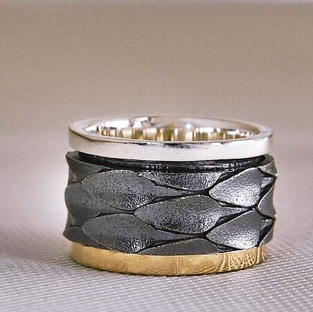 Handmade silver ring with gold18k by K.AND.
