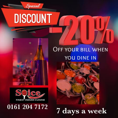 Here's our offer for you to dine in. 20% off your bill when you eat in.