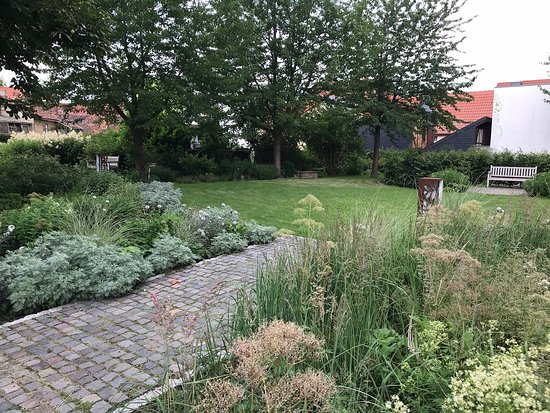 Haldensleben, Tyskland: Wunderschönen mitten in der Stadt in einem Hinterhof gelegen, auf dem Weg zum Bülstringer Torturm. Hier kann man entspannen und die stundenlang die Ruhe genießen, während man die weiße Pracht der Stauden und Blumen auf  sich einwirken lässt.