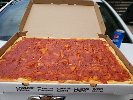 Our Fresh Tomato Pie We Each Only Ate A Few Pieces Before Being Completely Full Picture Of New York Bakery Philadelphia Tripadvisor
