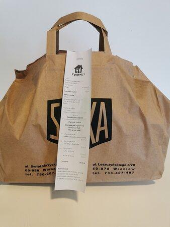 Paper bag + receipt