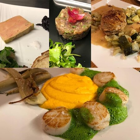 menu du samedi soir 18 juillet : foie gras ou tartare de thon, Saint Jacques poêlées écume de roquette et crémeux de carottes orange