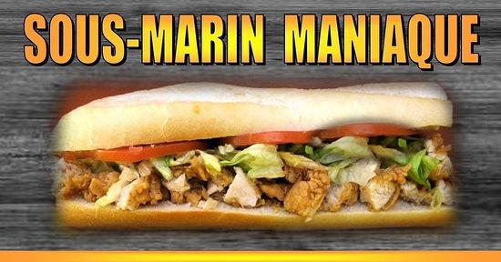 Notre sous-marin maniaque est offert en trio (burger, frite & liqueur)